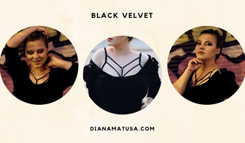 Make everyday outfit count with the perfect black velvet and choker harness
